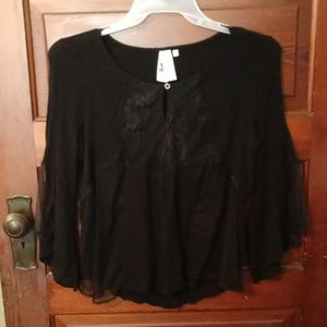 Society Girl Dressy Sheer Lacey Blouse size XL